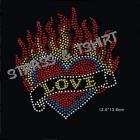 coeur love flamme en strass A3