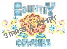 T-shirt Country roses cowgirl en strass C25