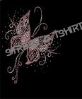 T-shirt  Papillon rose en strass AN12